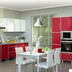 Кухня Альфа - цвет атлас красный