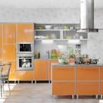Кухня Альфа - цвет оранжевый металлик