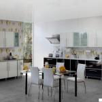 Кухня Альфа - цвет черно-белая