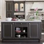 Кухня Винтаж остров - цвет графит серебрёный