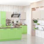 Кухня Глосс - цветы авокадо- капуччино