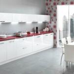 Кухня Глосс - цветы белый