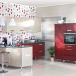 Кухня Глосс - цветы капуччино- терракотовый