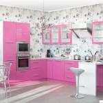 Кухня Глосс - цветы розовый