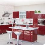 Кухня Глосс - цветы терракотовый