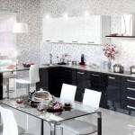 Кухня Глосс - цветы черный - белый