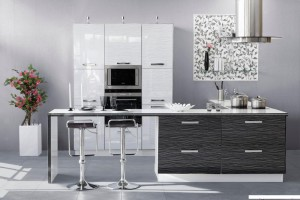 Кухня Дождь цвет белый - черный