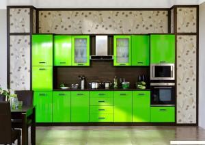 Кухня Лайм цвет лайм, корпус дуб кофейный фасад ДСП пластик с кромкой