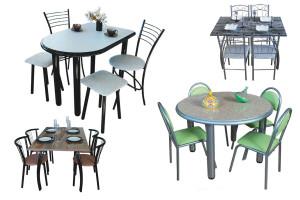 Столы и стулья на металлокаркасе