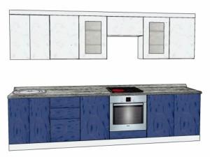 Типовой проект кухни с покрытием пленкой 3,0м