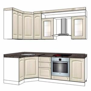 Типовой проект кухни с покрытием пленкой 2,4-1,2м