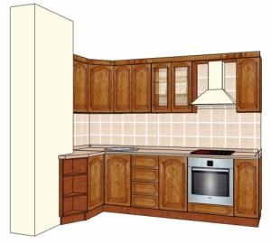 Типовой проект кухни из массива 2,7-1,05м