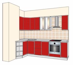 Типовой проект кухни с покрытием пластиком 2,7-1,05м