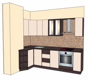 Типовой проект кухни с покрытием пленкой 2,7-1,05м