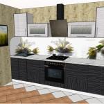 Проект 10.09.15 Кухня Дождь МДФ пластик, белый верх, черный низ (4)
