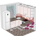 3Д проект кухни Натурель